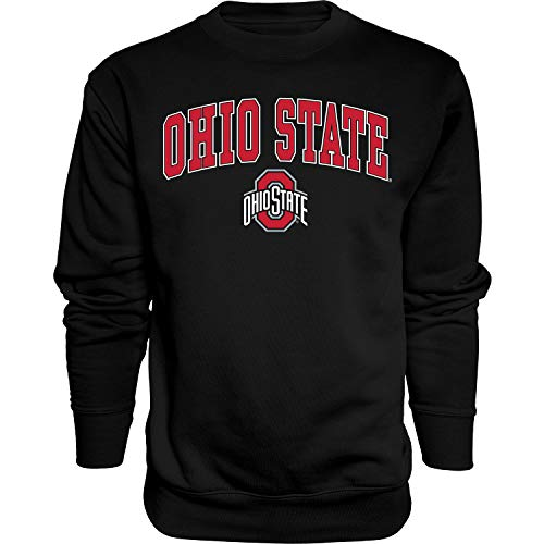 NCAA Ohio State Buckeyes Mens Crewneck Sweatshirt Black Arching Over, Ohio State Buckeyes Black, Large