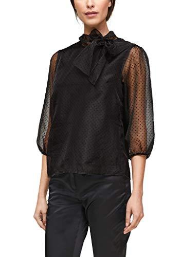 s.Oliver BLACK LABEL Damen Zarte Bluse mit Schluppe Black 34