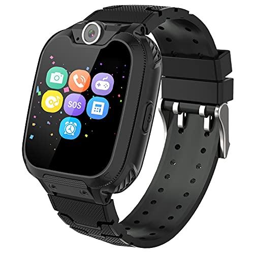 Orologio intelligente per bambini con 7 giochi, musica MP3, per bambini e ragazzi, chiamate telefoniche, con schermo touch da 1 GB SD, fotocamera, sveglia, Smart Watch da 3 a 12 GB, colore: nero