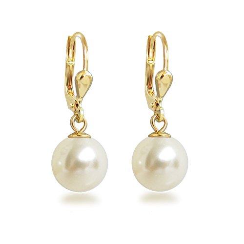 Schöner-SD Gold-Doublé Ohrhänger mit Perlen von Swarovski® Ohrringe vergoldet cremeweiß