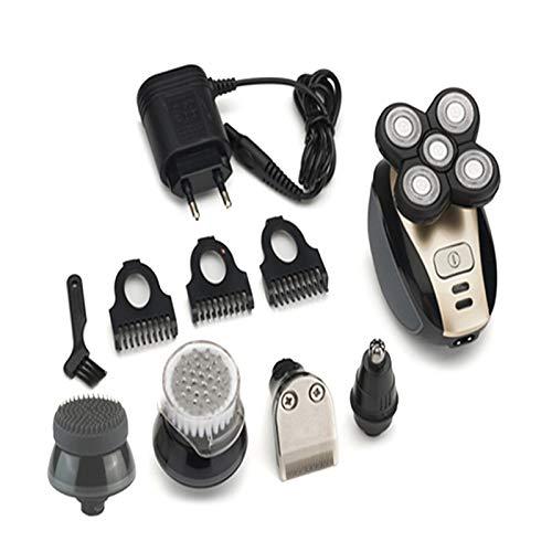 Gergxi5 in 1, rasoio elettrico rotativo 4D, rasoio elettrico senza fili, rasoio per naso, barba e capelli, dorato