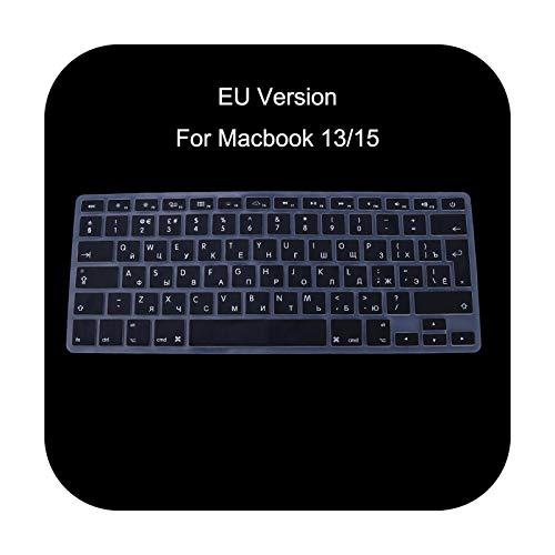 Keyboards Eu Version - Funda de silicona para teclado ruso para Apple MacBook Air Pro 13 15 T3Lb-negro