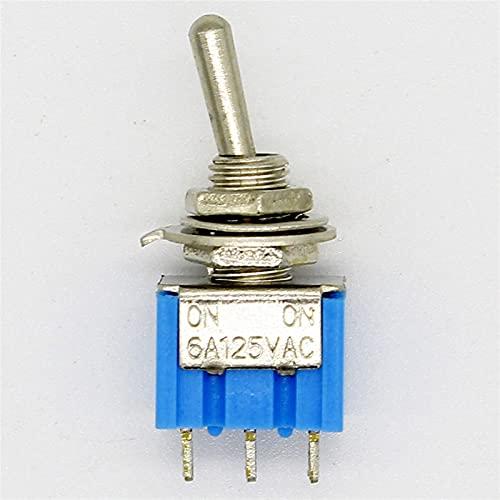 JSJJATQ Interruptores 10pc / Lote Blue Mini MTS-102 3-Pin SPDT ON-ON 6A 125VAC Interruptores de Palanca en Miniatura