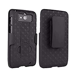 professional Verizon hard shell with stand for Droid Mini and holster rubber combination case, …