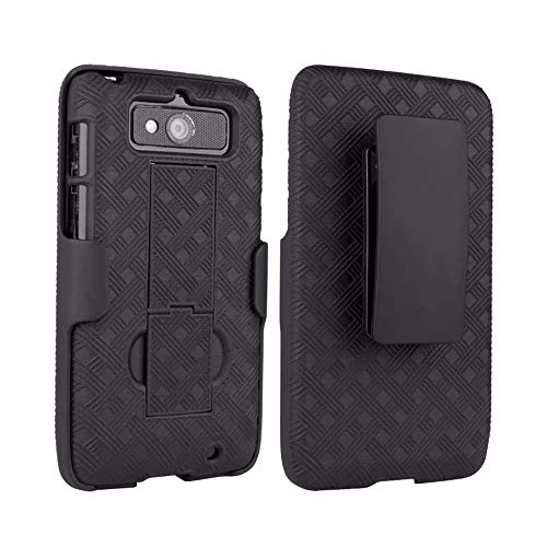 Verizon Hard Shell & Holster Combo Rubberized Case Cover with Kickstand for Droid Mini, Two-in-One Case with Belt Clip - Black