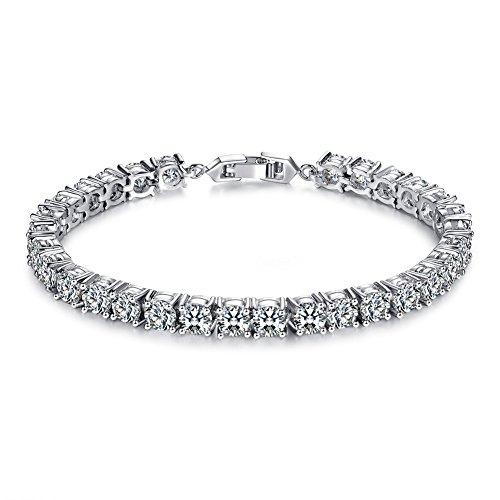 Epoch World Tennis Armband Damen Weissgold plattiert Zirkonia armreif, Armband Silber kommt in Eleganten Geschenk-Box