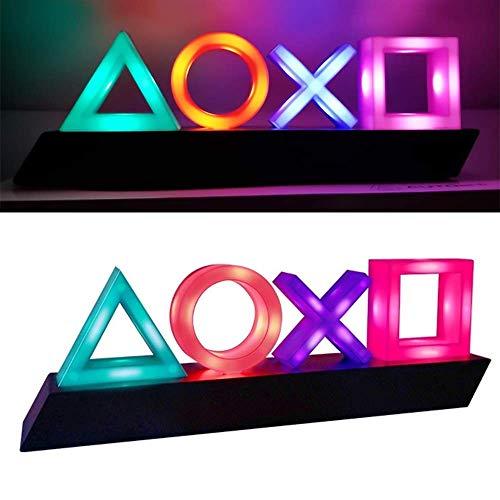Lâmpada de controle de voz com ícones de música e jogos reativos com 3 modos de luz, decoração de sala para PlayStation