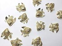 10個 ビーズクラブ チャーム 熱帯魚 ゴールド 24mm パーツ ハンドメイド 材料 手芸 ペンダント キーホルダー