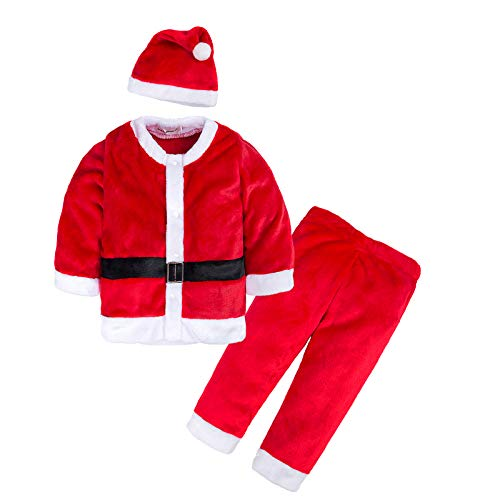 AGUDAN Boys & Girls Unisex 2 Pieces Shirt & Pant Christmas Romper Jumpsuit Pajamas Long Sleeve Outfit Xmas Clothes with Hat Red