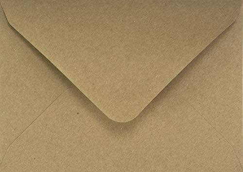 100 Sand-Braun DIN B6 Kraftpapier-Umschläge, 125x175mm, Spitzklappe, ohne Fenster, ÖKO ECO Vintage natur-braune recycelte Briefumschläge ideal für Hochzeit, Weihnachten, Geburtstag, Einladungen