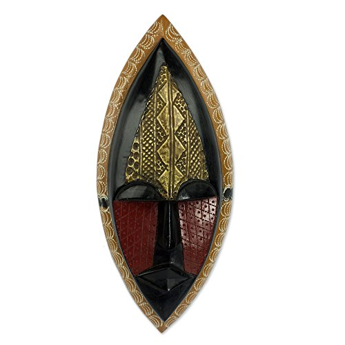 NOVICA Black and Red Sese Wood African Wall Mask with Brass Accents, A Peace Blessing
