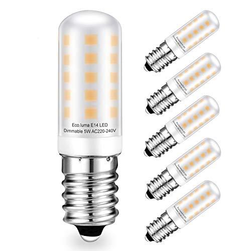 E14 LED Dimmbar Lampen 5W Warmweiß 3000K 380LM Ersatz für 28W 40W E14 Halogen Lampen, Eco.luma Standard E14 Sockel, AC220-240V, 360 ° Abstrahlwinkel, LED E14 Leuchtmittel Milchige Abdeckung, 5er Pack