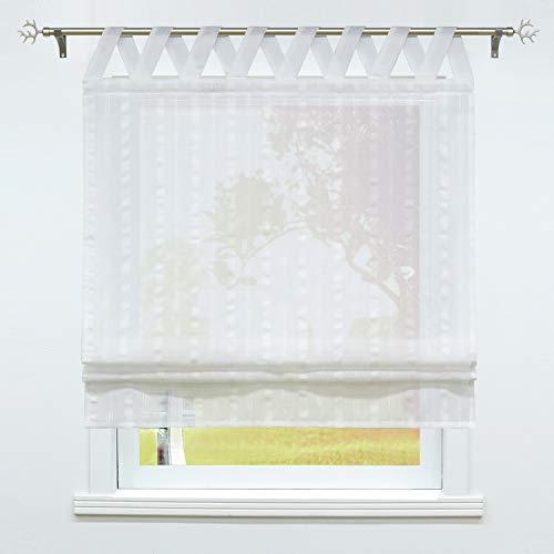 SCHOAL Raffrollo mit Schlaufen Halbtransparente Raffgardine Schlaufenrollo Gardinen Landhaus Leinen 1 Stück BxH 80x140cm Weiß #2
