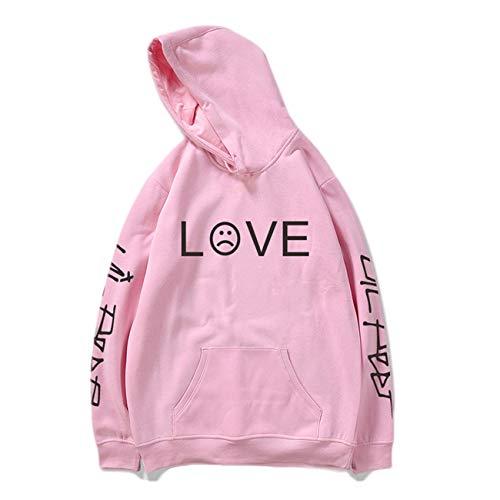SERAPHY Hip Hop Frühling Herren Sweatshirts Unisex Kapuzenpullover Casual Hoodie Männer/Frauen Print Kleidung-Pink-XL