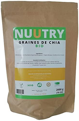 Graine De Chia Bio 2KG - Riche en Magnesium et en Omega 3 - Excellent pour le transit - Excellent pour la Perte de Poids, la Peau et le Sommeil - Renforce les Dents & Os - Conditionné en France