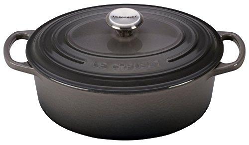 Le Creuset LS2502-237FSS Signature Enameled Cast Iron Oval Dutch French (Dutch) Oven, 2 3/4 quart, Oyster