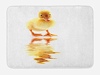 Lunarable Duckies Bath Mat Yellow Baby Duck Looking at Its Reflection Poultry Themed Image Flightless Bird Plush Bathroom Decor Mat with Non Slip Backing 29.5  X 17.5  Orange Yellow
