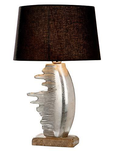 GILDE Lampe Fuego - Tischlampe aus Aluminium mit einem Holz-Fuß H 54 cm