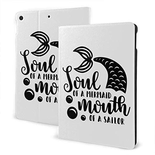 Case for iPad Soul of Mermaid Mouth of Sailor PU Leather Business Folio Shell Cover with Stand Pocket and Auto Wake/Sleep for iPad Air 10.5'
