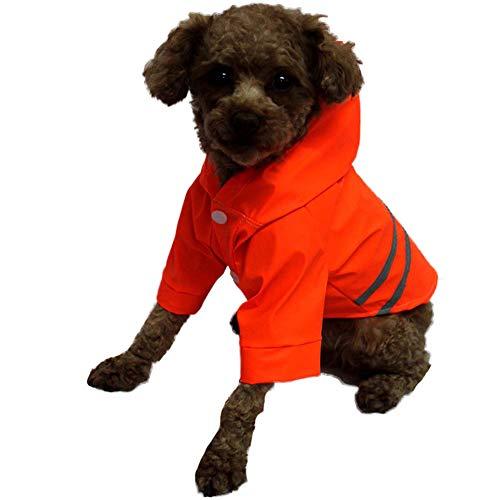 RYDRQF Hunderegenmantel, Verstellbare wasserdichte Leichte Hunderegenjacke, Hunderegenponcho Hunderegenbekleidung mit Reflexstreifen für Kleine und Mittlere Hunde,Rot,S