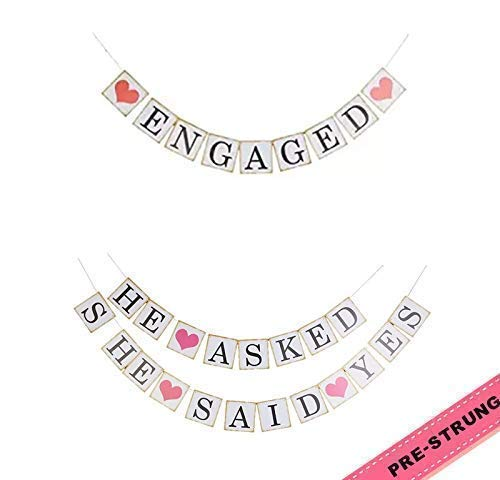Engagement Bunting Banner Wedding Bridal Party Decoration Photo Booth Props Kit ENGAGED and HE ASKED SHE SAID YES