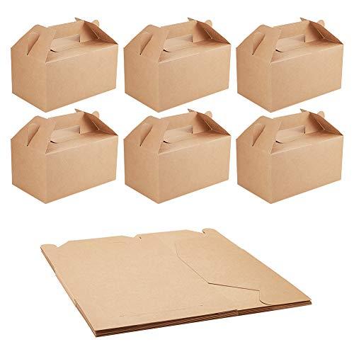 NBEADS Caja de Papel Kraft, 10 Unidades Caja de Cartón de Papel de Pastel de Caramelo Caja de Cartón de Embalaje para Regalo de Fiesta de Boda con Mango, Tierra de Siena, 21x13x16.5cm