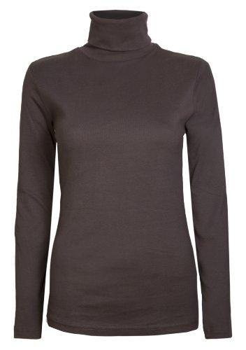 Brody & Co Damen Rollkragen-Pullover,, exklusive, Unifarben, für den Winter und Skifahren, Stretch-Qualität, Baumwoll-Jersey Gr. 44, braun