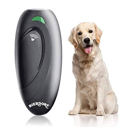 BIERDORF Antibellgerät, Ultraschall Bellkontrollgerät, Hundetrainingshilfe mit Kontrollbereich bis 16,4 Fuß, Batterie mitgeliefert, LED-Anzeige, Tragbar für Außen- und Innenbereich, Sicher, Grau