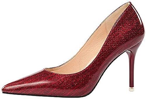 FLYRCX Stiletto Sexy Señaló Tacones Altos Damas zapatos de Charol Poco Profundos zapatos de Trabajo zapatos al Aire Libre