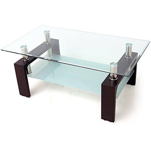 LOWYA ローテーブル ガラステーブル 幅110cm 強化ガラス天板 ブリリアントカット テーブル ブラックウォルナット おしゃれ 新生活