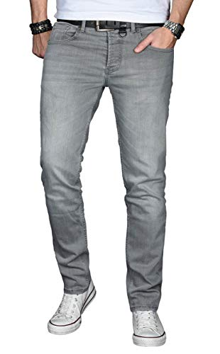 A. Salvarini Designer Herren Jeans Hose Basic Stretch Jeanshose Regular Slim [AS029 - Hellgrau - W34 L32]