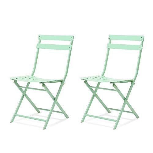 FENGFAN-Klappstuhl Esszimmerstuhl Stilvolle Einfachheit Eisen Art Balkon Freizeit Stuhl Bürostuhl Safe Portable (Farbe : Grün)