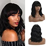 Netgo Short Black Wig for Women, Short Bob Wigs with Air Bangs, Natural Looking Wavy Wigs, Heat Resistant Synthetic Curly Wigs for Cosplay Party Daily Wear