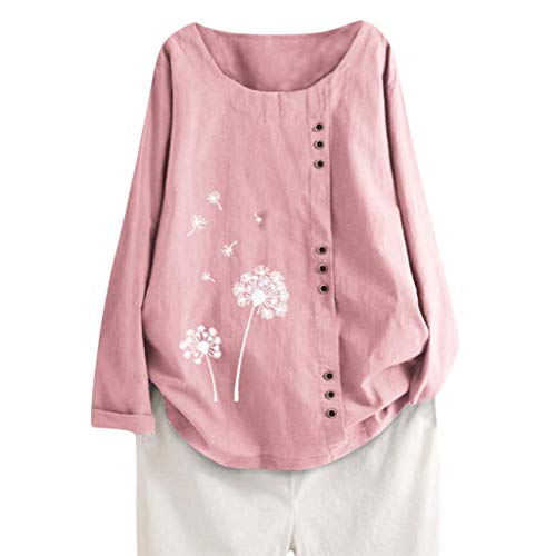 Purchase Lovor Women's Cotton Linen Blouse Plus Size Short/Long Sleeve Crewneck Boho Floral Button T...