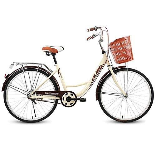 MXYPF MäDchen Damen Citybike,24-Zoll-Freizeitrad FüR Frauen Und Kinder - Rahmen Aus Kohlenstoffstahl - AluminiumräDer - Doppelbremsen Vorne Und Hinten - Geeignet FüR Gewichte Unter 100 Kg