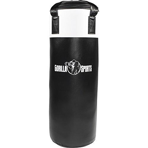 GORILLA SPORTS® Boxsack Kunstleder 18 kg gefüllt Schwarz/Weiß – Punching-Bag 80 x 30 cm mit Karabiner zur Aufhängung