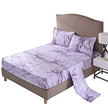 A Nice Night Mable Design Printing Bed Sheet Bedding Set 100% Soft Microfiber Fitted Sheet  Queen Purple