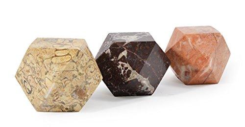 Set von 3 Diamantschliff Himalaya-Marmor Briefbeschwerer - von Fossil GIFT SHOP