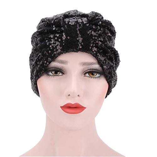 SHYPT Moda Lentejuelas con Lentejuelas turbantes Sombrero Bandana Bufanda Gorros Cabeza de jeatures Gorras for Mujer Turbante Caliente (Color : F)