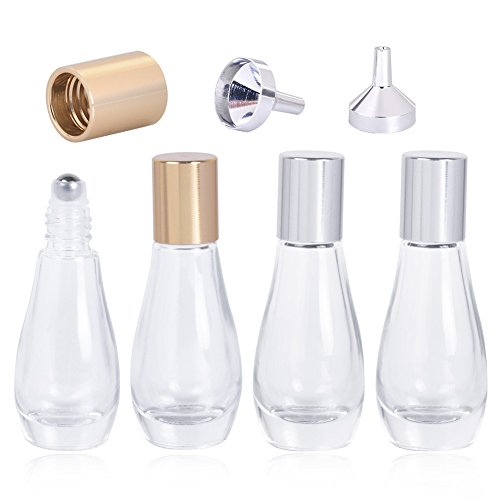 Roller Bottles, 0.33oz / 10ml Empty Refillable Glass Roller Bottles with Gold and Sliver Cap Perfect for Aromatherapy Perfumes Essential Oils Lip Gloss, Comes with 2 Sliver Funnels, Pack of 4 (0.33 Ounce Perfume Roll)