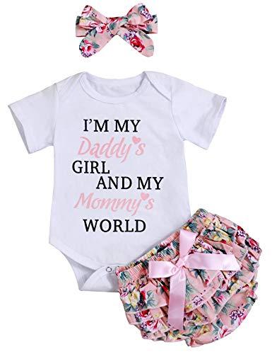 Vatertag Neugeborenes Baby Mädchen Kleidung Sommer 3 STÜCKE Outfit Sets Strampler Shorts Stirnband für Papa Mama Fathers Day