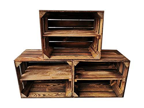 Alte geflammte Obstkisten/Holzkisten 50 x 40 x 30cm mit Zwischenboden LANG verarbeitet - Ideal für den Möbelbau - Tolle Set-Angebote