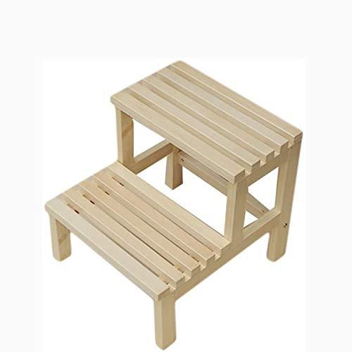 PLKZ Solid Wood Step Kruk, multifunctionele landelijke praktische houten nuttig en decoratieve bank dubbele laag