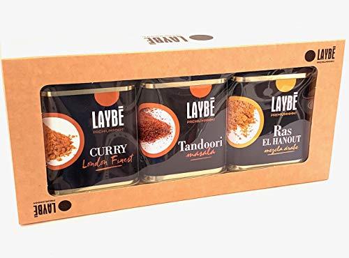 Laybe Curry London Finest - 90 g , Ras el hanout - 80 g y Tandoori - 80 g, Estuche 3 latas