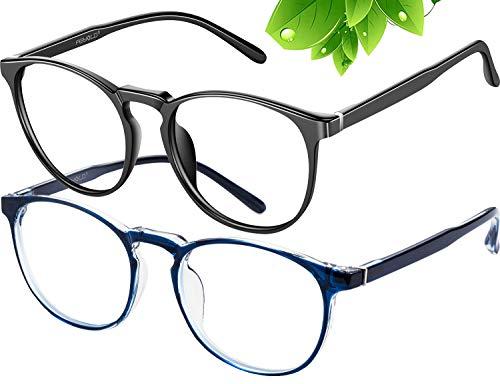 FEIYOLD gafas de bloqueo de luz azul mujer/hombre, retro redondo anti fatiga de ojos gafas de juego de computadora (negro+azul)