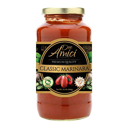 Marinara Pasta / Spaghetti Sauce by Due Amici - Keto / Vegan - Pack of (1) - Tomatoes Imported From Italy, No Sugar Added, Low Carb, Low Sodium, Gluten Free, No Additives, Non-GMO.
