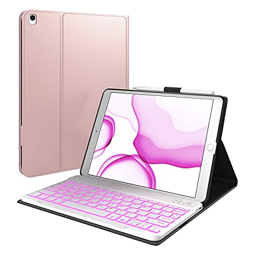 iPad 10.2 8th 7th Generation Case with Keyboard, 7 Color Backlit Detachable Wireless Keyboard, Pencil Holder Folio Cover for iPad 10.2 inch 2019/2020, iPad Air 3, iPad 10.2 Keyboard Case (Rose Gold)