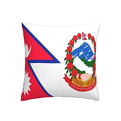 Kissenbezug mit Flaggen von Nepal, quadratisch, dekorativer Kissenbezug für Sofa, Couch, Zuhause, Schlafzimmer, für drinnen & draußen, 45,7 x 45,7 cm