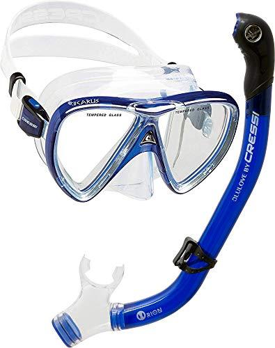 Cressi Unisex-Erwachsene Ikarus & Orion Dry' Schnorchel Set, Transparent/Durchscheinend Blau, one size