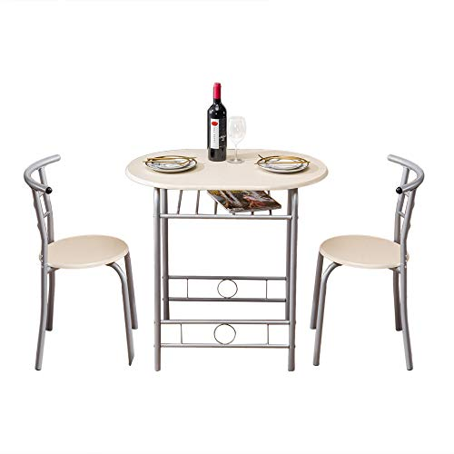 Bliweek Breakfast Table Set (One Table and Two Chairs) Natural Dining Table Combo for Kitchen Living Room 88x 58x 15cm